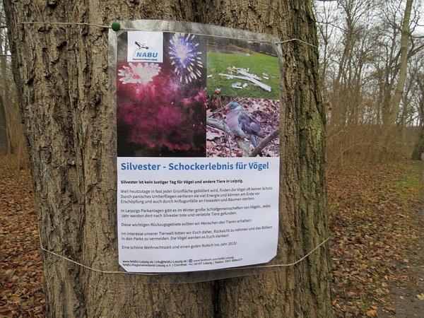"""Schild """"Silvester - Schockerlebnis für Vögel"""""""