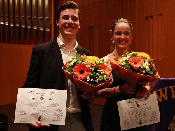 Die beiden Lortzing-Preisträger 2019: Anna Maria Schmidt und Anton Haupt, Foto: Siegfried Duryn