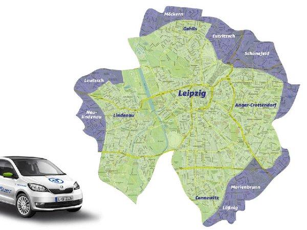 Die blau markierten Bereiche kommen ab dem 1. Juli 2019 zum Leipziger cityflitzer-Geschäftsgebiet hinzu.