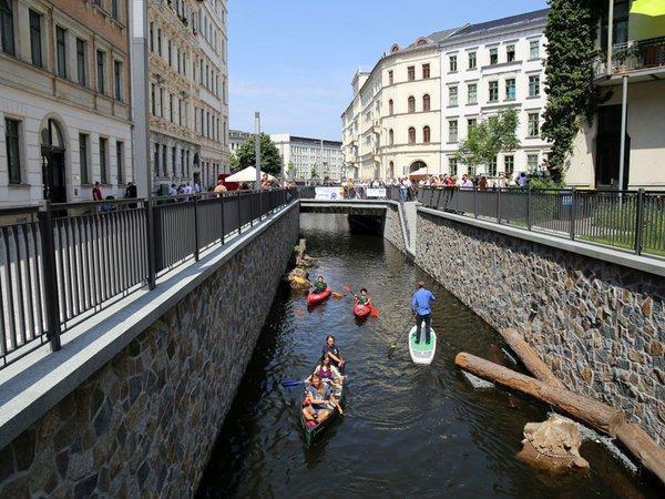 Elstermühlgraben: Eröffnung des vorletzten Abschnitts an der Thomasiusstraße, Foto: Andreas Schmidt