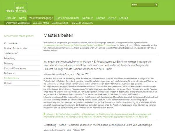 Download der Masterarbeiten im Studiengang Crossmedia Management