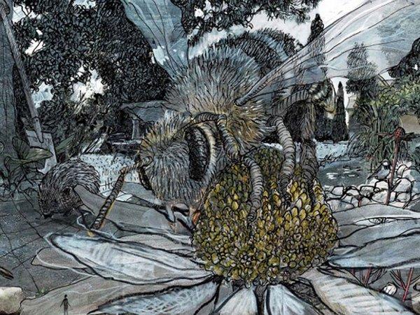 Detail aus Arbeitsskizze zum Panorama CAROLAS GARTEN von Yadegar Asisi, Foto: asisi