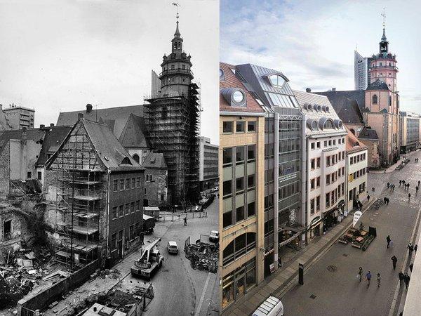Nikolaikirche in Leipzig im Jahr 1988 und 2006, Foto: Armin Kühne