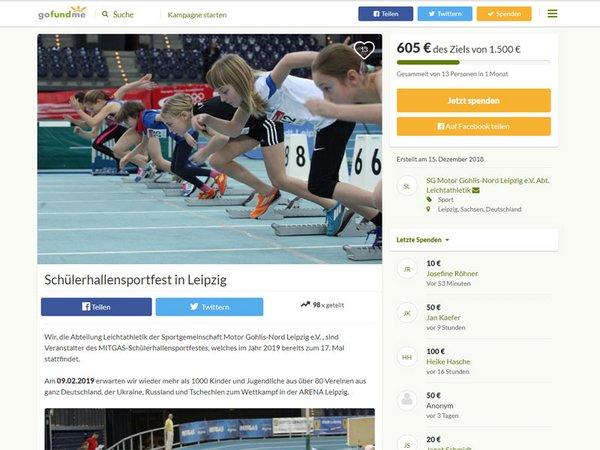 Spendenkampagne für das Schülerhallensportfest in Leipzig auf gofundme.com
