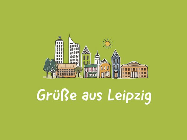 Postkarte Motiv 1: Grüße aus Leipzig, Grafik/Gestaltung: LTM / Diemar Jung Zapfe