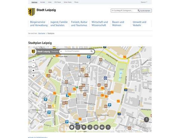Offizieller digitaler Stadtplan auf leipzig.de/stadtplan