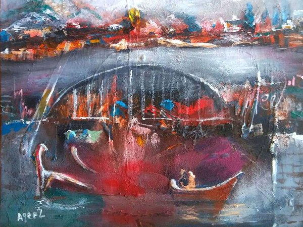 Aqeel Abdulameer Abdulhussein: Suche, 2019, Acryl auf Leinwand, 60 x 60 cm