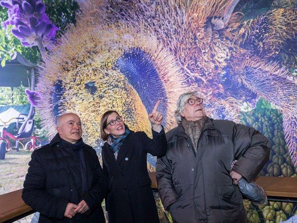Yadegar Asisi, Skadi Jennicke und Bazon Brock im Panometer Leipzig, Foto: Tom Schulze