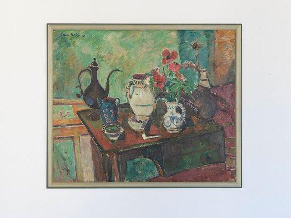 Oskar Moll: Stillleben mit Mohn und schwarzer Kanne, 1916, Öl auf Leinwand 100 x 120 cm, Foto: Bayer AG / Dirk Hansen