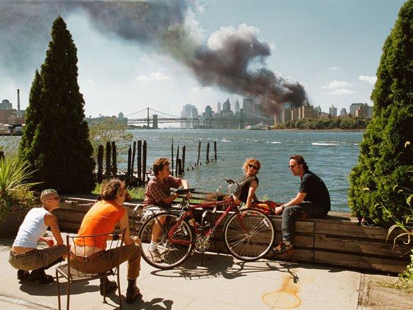 Blick von Williamsburg auf Manhattan, New York, 11.09.2001