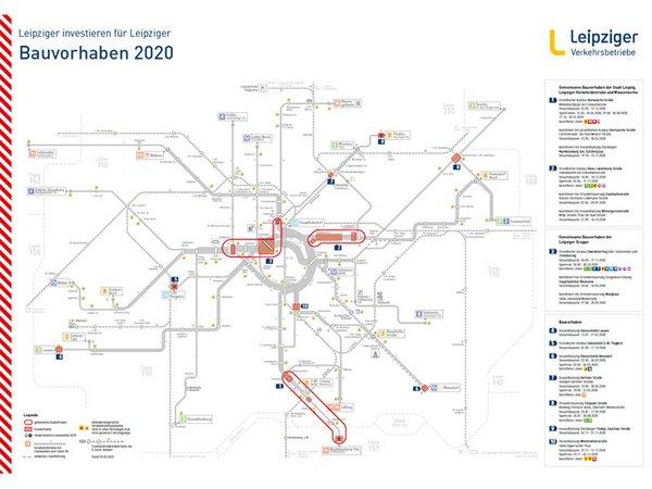 Bauvorhaben 2020, Grafik: Leipziger Verkehrsbetriebe