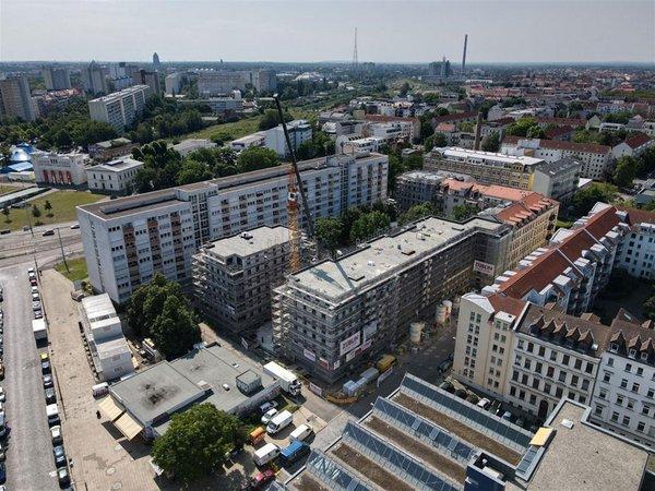 LWB Neubau: Bernhard-Göring-Straße 17 aus der Luft, Foto: Peter Usbeck