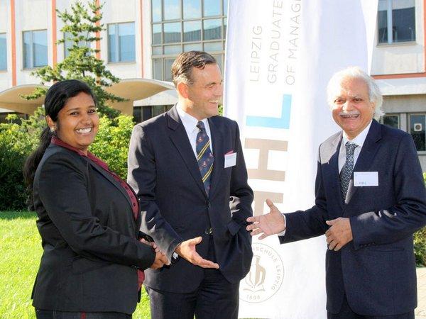 GIRT an der HHL: Prof. Sushil Khanna, Markus Hoffmann von Wolffersdorff und Asha Thampi