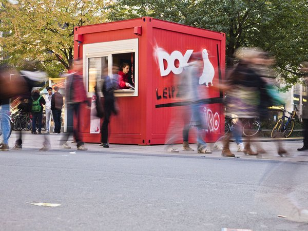 Info Box beim DOK Leipzig