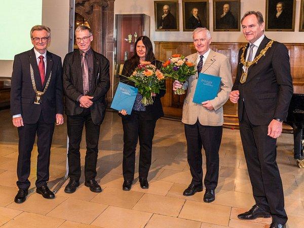 Prof. Hans Wiesmeth, Prof. Erich Schröger, Prof. Evamarie Hey-Hawkins, Prof. Frank-Dieter Kopinke, Burkhard Jung. Foto: André Künzelmann / UFZ