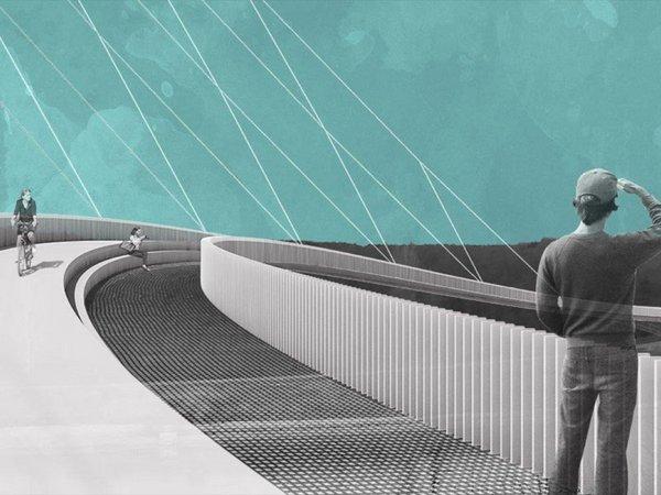 """Der Entwurf """"Westkurve"""" von Hagen Ludwig und Timm Fröhlich sieht Wege für verschiedene Nutzergruppen vor, Foto: Ludwig-Fröhlich / HTWK Leipzig"""