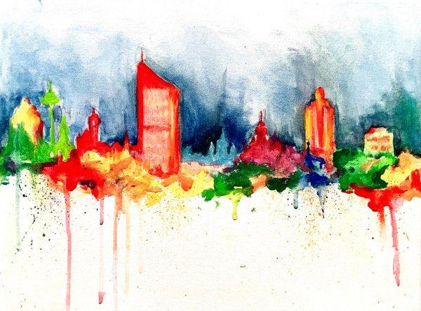 Skyline von Leipzig mit ArtNight