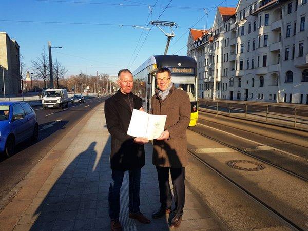 Jens Lehmann (Mitglied im Deutschen Bundestag), Ulf Middelberg (Sprecher der LVB Geschäftsführung), Foto: Leipziger Gruppe